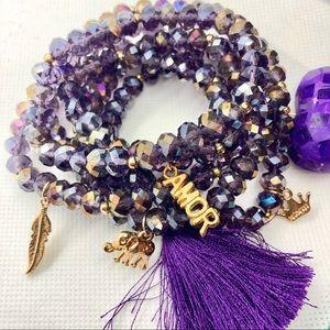 NWOT Purple Glass, Gold Tone Stack Bracelets